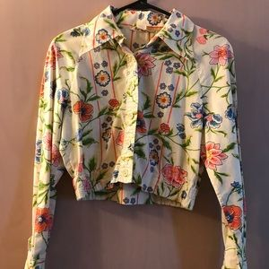 Vintage Ellen Tracy button up cropped floral top